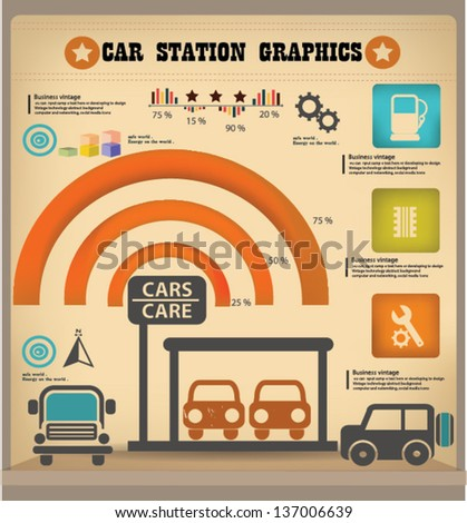 Car station graphics design,vintage,vector - stock vector