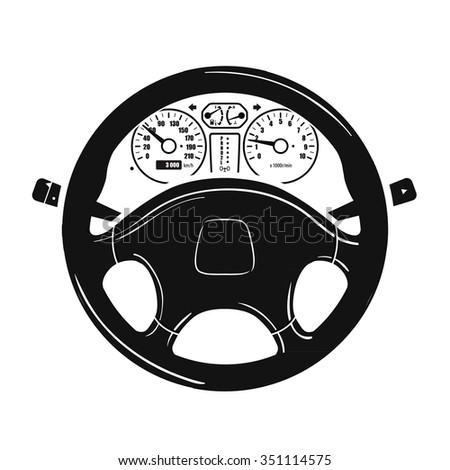 car steering wheel vector logo design template. vehicle, automobile or car dashboard icon - stock vector