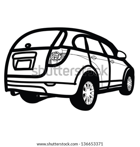 Car SUV - Hand drawn - stock vector