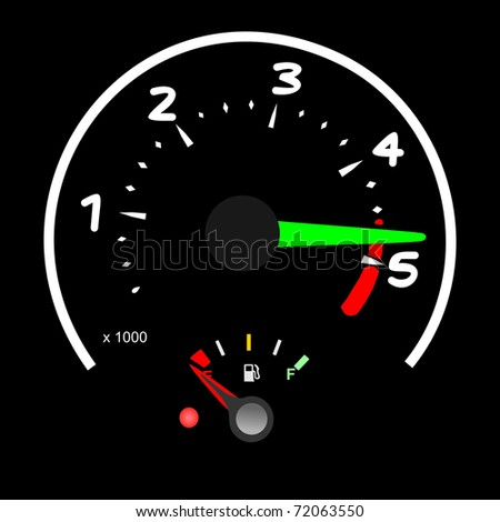 Car Tachometer Almost vector - stock vector