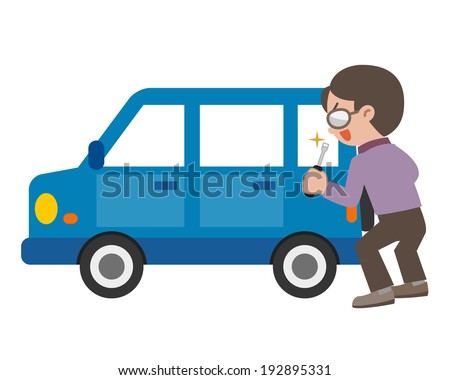 Car thief - stock vector