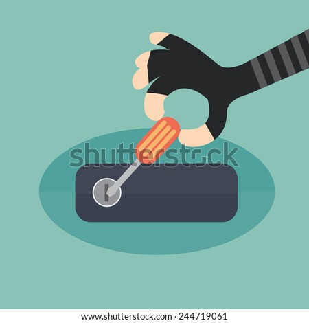 car thief in action -  flat design - stock vector