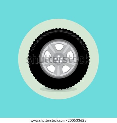 car tire flat design - stock vector