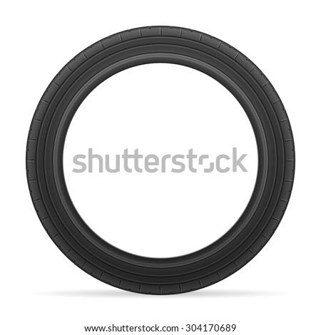 Car tire on a white background.