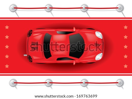 Car Top View on Red Carpet - Vector Illustration - stock vector