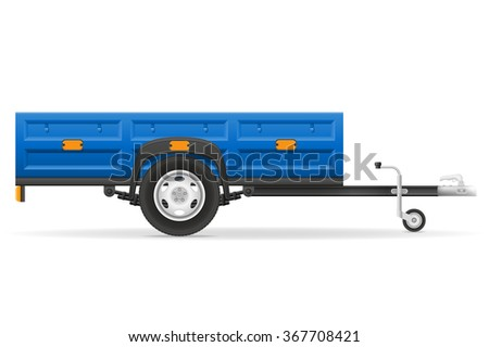 car trailer for the transportation of goods vector illustration isolated on white background - stock vector