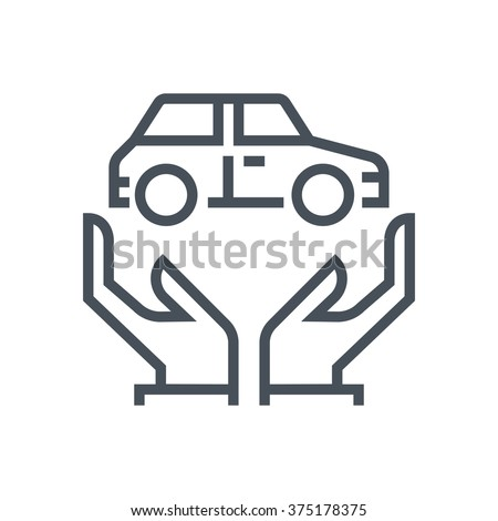 Car, transport insurance icon suitable for info graphics, websites and print media and  interfaces. Line vector icon. - stock vector