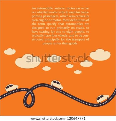 Car travel background. Vector illustration. - stock vector