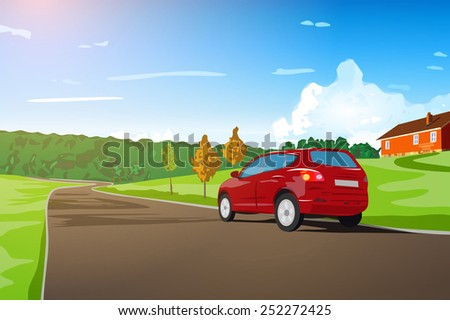 Car travel in Norway. EPS 10 format. - stock vector