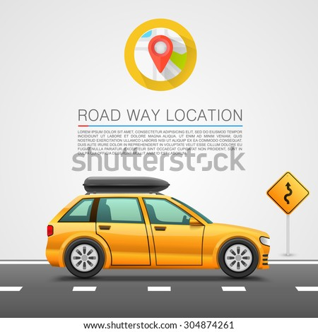 Car travel on the location. - stock vector