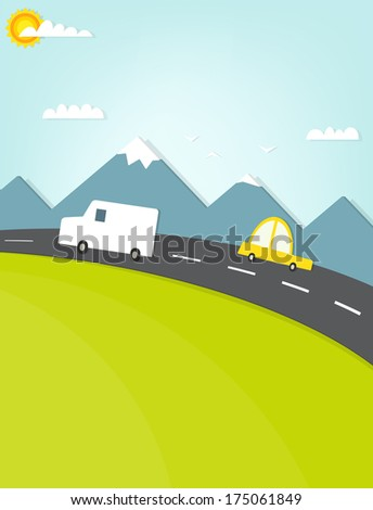 car traveling on the road in the mountains - stock vector