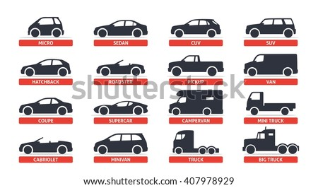 Car Type and Model Objects icons Set, automobile. Vector black illustration isolated on white background with shadow. Variants of car body silhouette for web. - stock vector