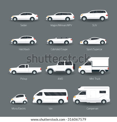 Car Type and Model Objects icons Set, White Body Color, Automobile - stock vector