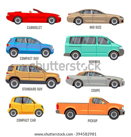 Car types vector flat icons. Automobile models icons set - stock vector