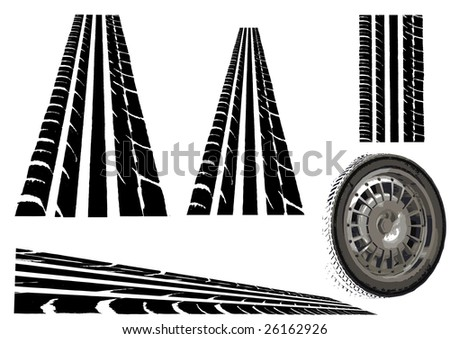 Car tyre and  Trye Tracks (Main Vector tesalates so you can create your own roads) - stock vector