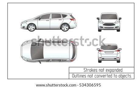 Front Back Top Side Suv Projection Stock Vector