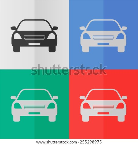 Car vector icon. Effect of folded paper. Colored (red, blue, green) illustrations. Flat design - stock vector