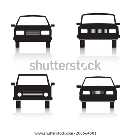 Car vector icons. Web design elements collection. - stock vector