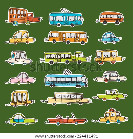 car vector sticker doodle - stock vector