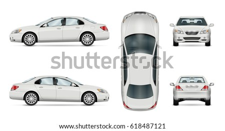 Car vector template on white background. Business sedan isolated. All layers and groups well organized for easy editing and recolor. View from side, front, back and top.