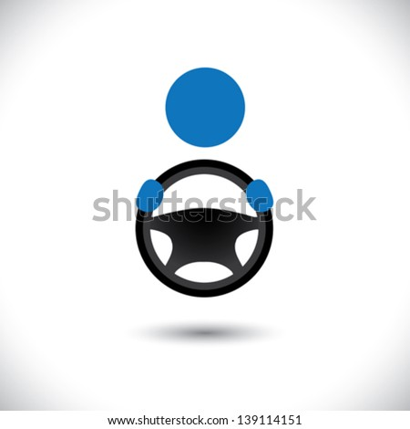 Car, vehicle or automobile driver icon or symbol- vector graphic. This logo template shows a cabbie icon with his hand holding the steering wheel - stock vector