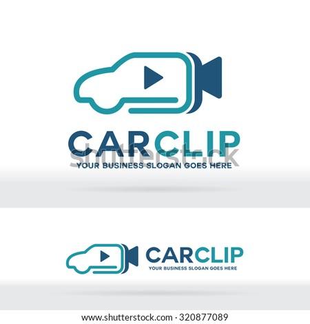 Car Video Clip Logo - stock vector