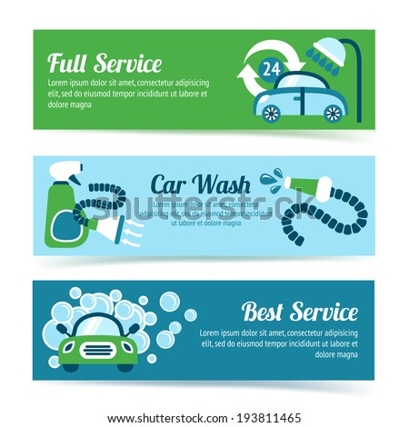 Car wash auto cleaner washer shower service banners set isolated vector illustration - stock vector