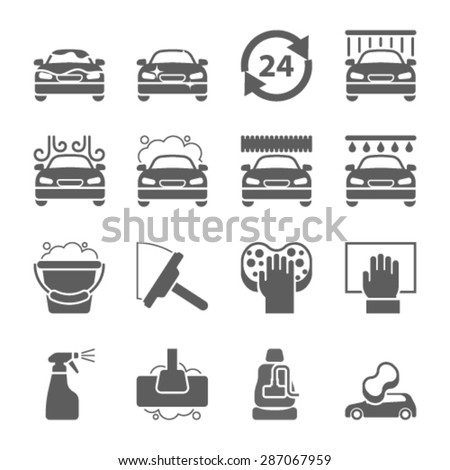 Car wash auto cleaner washer shower service icons - stock vector