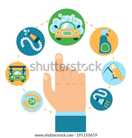 Car wash automobile cleaning service concept with human hand vector illustration - stock vector