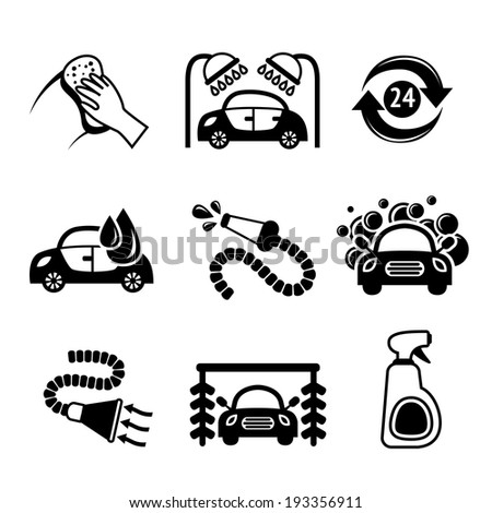 Car wash black and white auto cleaner washer shower service isolated icons vector illustration - stock vector