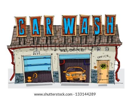 car wash - cartoon - stock vector