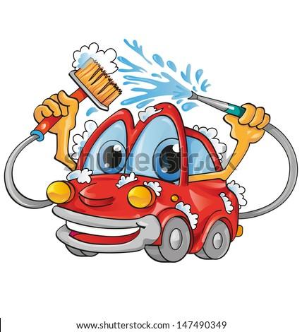 car wash cartoon - stock vector