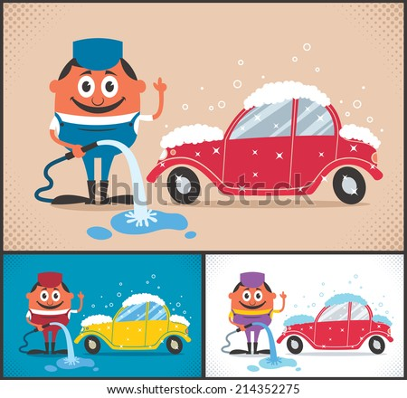 Car Wash: Cartoon character washing car. The illustration is available in 3 different color versions. No transparency and gradients used.  - stock vector
