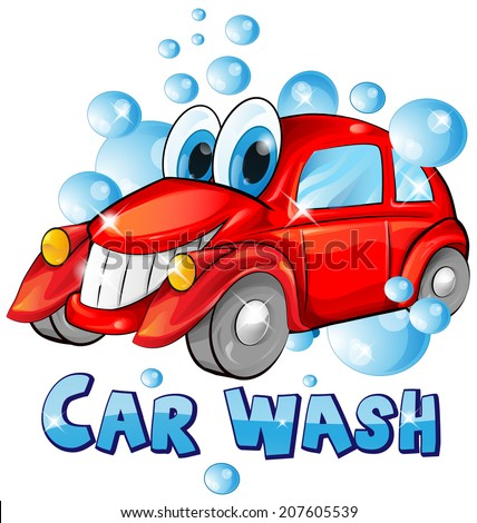 car wash cartoon isolated on white background - stock vector