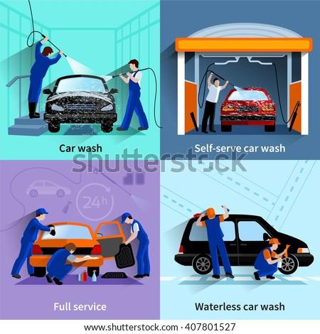 Car Wash Center Full Self Service Stock Vector 407801527