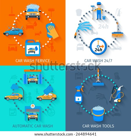 Car wash full automatic 24h service facilities with touchless equipment 4 flat icons composition abstract vector illustration - stock vector