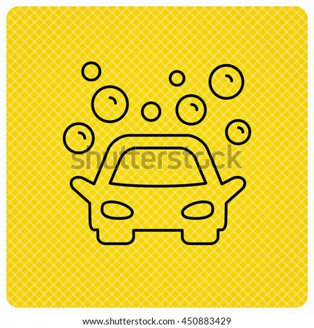 Car wash icon. Cleaning station sign. Foam bubbles symbol. Linear icon on orange background. Vector