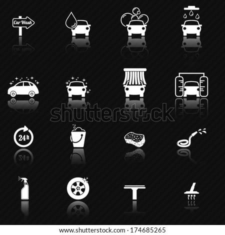 Car wash icon set - stock vector