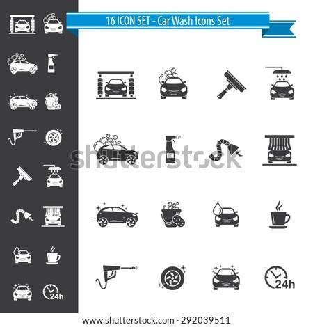 Car Wash Icon Set - 16 ICON SET - stock vector