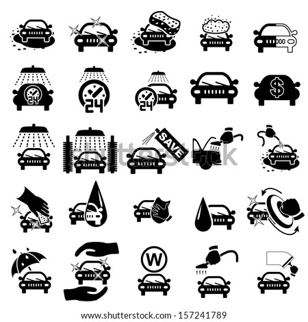 Car wash icons set on white - vector illustration - stock vector