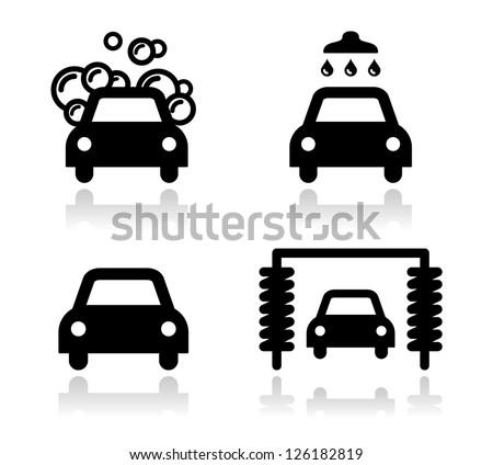 Car wash icons set - vector - stock vector