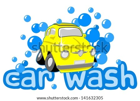 Car wash illustration - stock vector