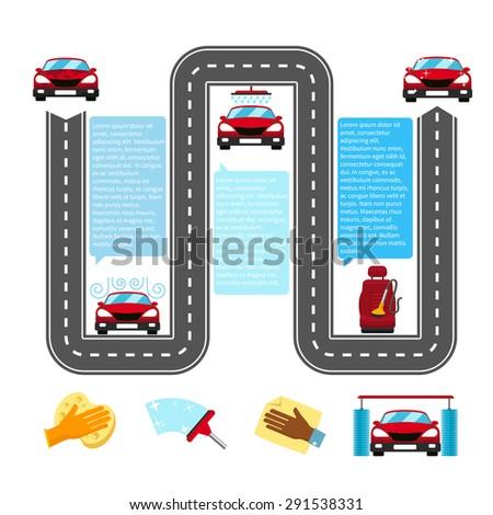 Car wash infographics. Water and automobile, auto wash industry, process and detail, transport clean shower. Vector illustration - stock vector