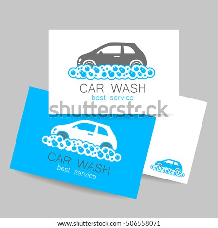 Car Wash Logo Template Identity Concept Service Business Cards Vector Illustration