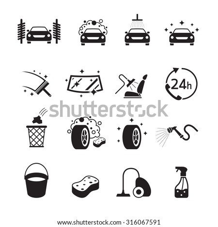 Car Wash Objects icons Set, Black and white, Silhouette, Car Care, Automobile - stock vector