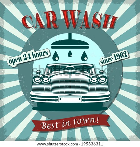 Car wash retro poster. - stock vector