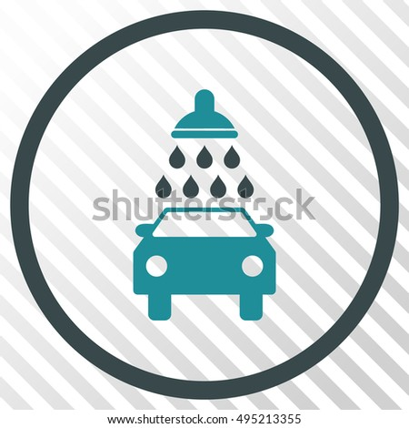 Car Wash vector icon. Image style is a flat soft blue icon symbol on a hatch diagonal transparent background.