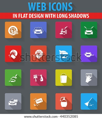 Car wash web icons in flat design with long shadows