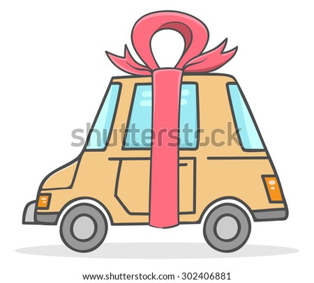 Car wearing a ribbon as a gift - stock vector