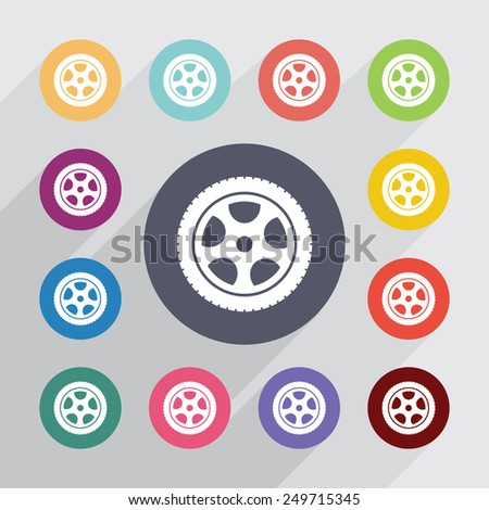 car wheel circle, flat icons set. Round colorful buttons  - stock vector